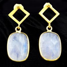 9.65cts natural rainbow moonstone 925 silver 14k gold dangle earrings t44219