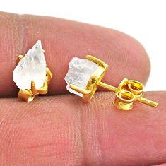 4.39cts natural rainbow moonstone 14k gold handmade stud earrings t7476