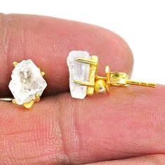 4.39cts natural rainbow moonstone 14k gold handmade stud earrings t7477