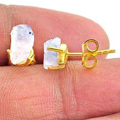 4.24cts natural rainbow moonstone 14k gold handmade stud earrings t7478