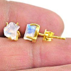 4.37cts natural rainbow moonstone 14k gold handmade stud earrings t7480