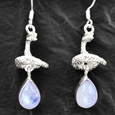 Clearance Sale- 6.20cts natural rainbow moonstone 925 silver anaconda snake earrings d40558