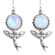 9.63cts natural rainbow moonstone 925 silver angel wings fairy earrings r66501