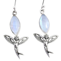 10.02cts natural rainbow moonstone 925 silver angel wings fairy earrings r66541