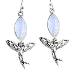 9.98cts natural rainbow moonstone 925 silver angel wings fairy earrings r66543