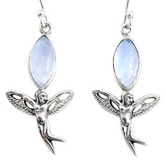 9.98cts natural rainbow moonstone 925 silver angel wings fairy earrings r66545