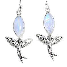 9.96cts natural rainbow moonstone 925 silver angel wings fairy earrings r66546