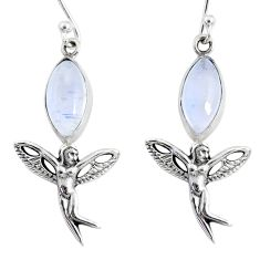 10.02cts natural rainbow moonstone 925 silver angel wings fairy earrings r66547