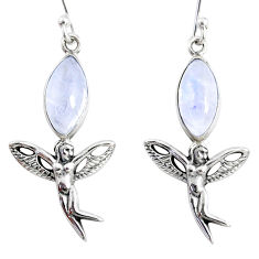 9.90cts natural rainbow moonstone 925 silver angel wings fairy earrings r66550
