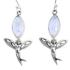9.98cts natural rainbow moonstone 925 silver angel wings fairy earrings r66551