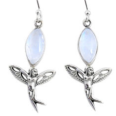 9.61cts natural rainbow moonstone 925 silver angel wings fairy earrings r66552