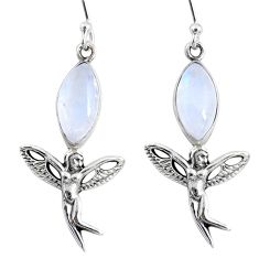 10.29cts natural rainbow moonstone 925 silver angel wings fairy earrings r66558