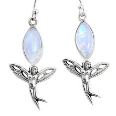 9.98cts natural rainbow moonstone 925 silver angel wings fairy earrings r66559