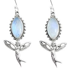 11.13cts natural rainbow moonstone 925 silver angel wings fairy earrings r74980