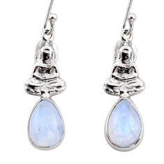 4.23cts natural rainbow moonstone 925 silver buddha charm earrings r48130