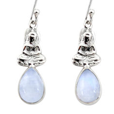 4.52cts natural rainbow moonstone 925 silver buddha charm earrings r48134