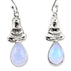 4.24cts natural rainbow moonstone 925 silver buddha charm earrings r48136