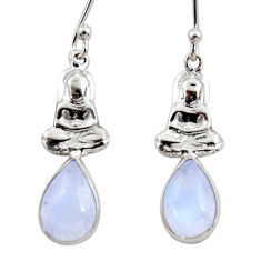 4.52cts natural rainbow moonstone 925 silver buddha charm earrings r48137