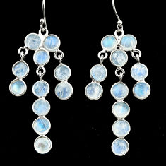 14.67cts natural rainbow moonstone 925 silver chandelier earrings jewelry r33414