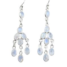 13.64cts natural rainbow moonstone 925 silver chandelier earrings jewelry r33452