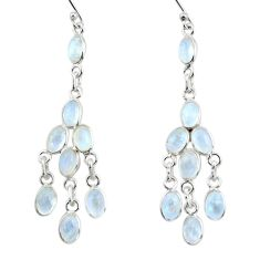 14.17cts natural rainbow moonstone 925 silver chandelier earrings jewelry r33458