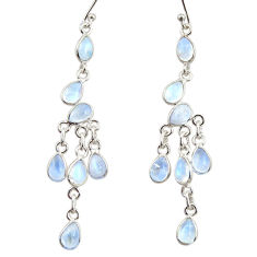 11.53cts natural rainbow moonstone 925 silver chandelier earrings jewelry r33557