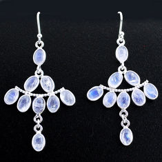 12.96cts natural rainbow moonstone 925 silver chandelier earrings jewelry t37410