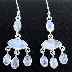 11.23cts natural rainbow moonstone 925 silver chandelier earrings jewelry t37415