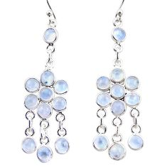 13.73cts natural rainbow moonstone 925 silver chandelier earrings r35615