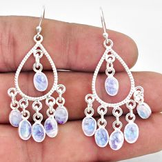 13.85cts natural rainbow moonstone 925 silver chandelier earrings r37356