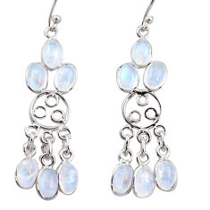 11.08cts natural rainbow moonstone 925 silver chandelier earrings r37415