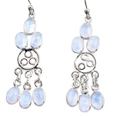 11.05cts natural rainbow moonstone 925 silver chandelier earrings r37416