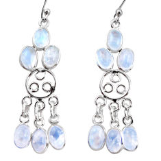 11.05cts natural rainbow moonstone 925 silver chandelier earrings r37417