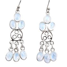 11.15cts natural rainbow moonstone 925 silver chandelier earrings r37420