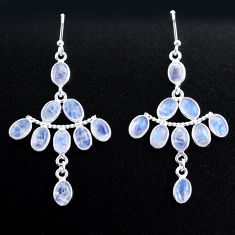 12.54cts natural rainbow moonstone 925 silver chandelier earrings t37406