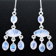 11.79cts natural rainbow moonstone 925 silver chandelier earrings t37418