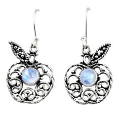 Clearance Sale- 2.32cts natural rainbow moonstone 925 silver dangle apple charm earrings d41075
