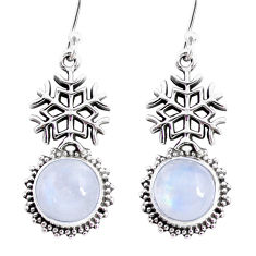 9.09cts natural rainbow moonstone 925 silver dangle snowflake earrings r66514