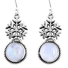 9.86cts natural rainbow moonstone 925 silver dangle snowflake earrings r66571