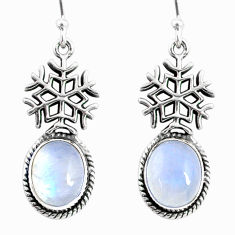 9.11cts natural rainbow moonstone 925 silver dangle snowflake earrings r66574