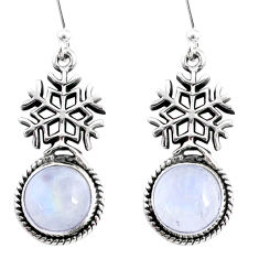 9.49cts natural rainbow moonstone 925 silver dangle snowflake earrings r66575