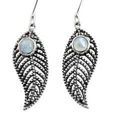 Clearance Sale- 1.70cts natural rainbow moonstone 925 silver deltoid leaf earrings d40158