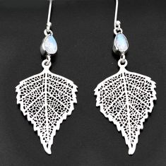 Clearance Sale- 4.82cts natural rainbow moonstone 925 silver deltoid leaf earrings d40582