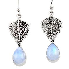 5.22cts natural rainbow moonstone 925 silver deltoid leaf earrings r48121