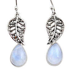 4.43cts natural rainbow moonstone 925 silver deltoid leaf earrings r48126