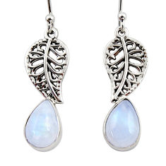 4.43cts natural rainbow moonstone 925 silver deltoid leaf earrings r48127