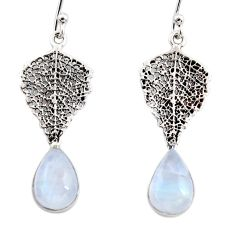 4.16cts natural rainbow moonstone 925 silver deltoid leaf earrings r48147