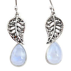 4.67cts natural rainbow moonstone 925 silver deltoid leaf earrings r48155