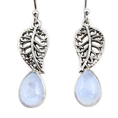 5.06cts natural rainbow moonstone 925 silver deltoid leaf earrings r48159