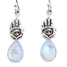 5.10cts natural rainbow moonstone 925 silver hand of god hamsa earrings r48148